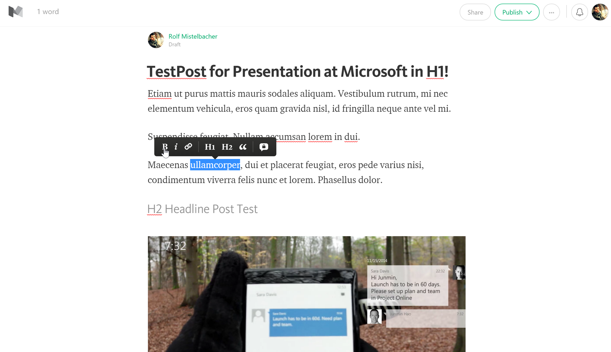 Medium.com Editor View