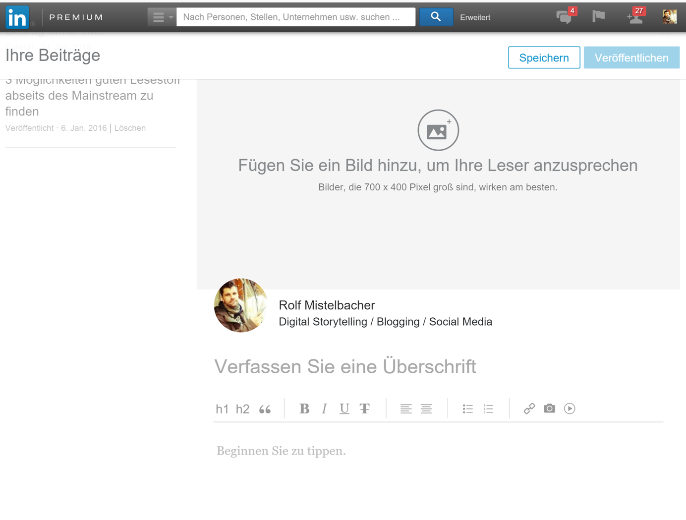 LinkedIn Editor View