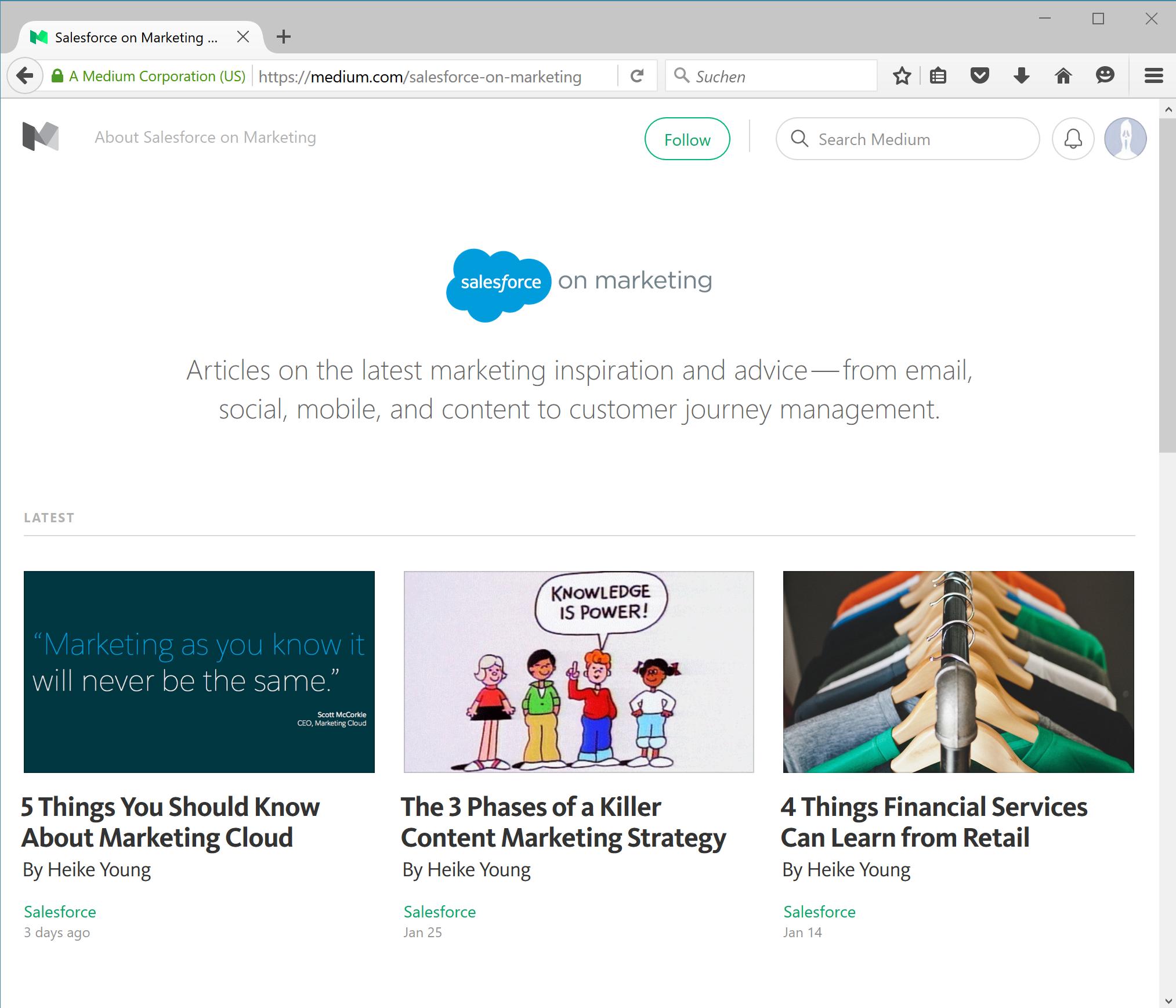Die Salesforce on Marketing Publication auf Medium