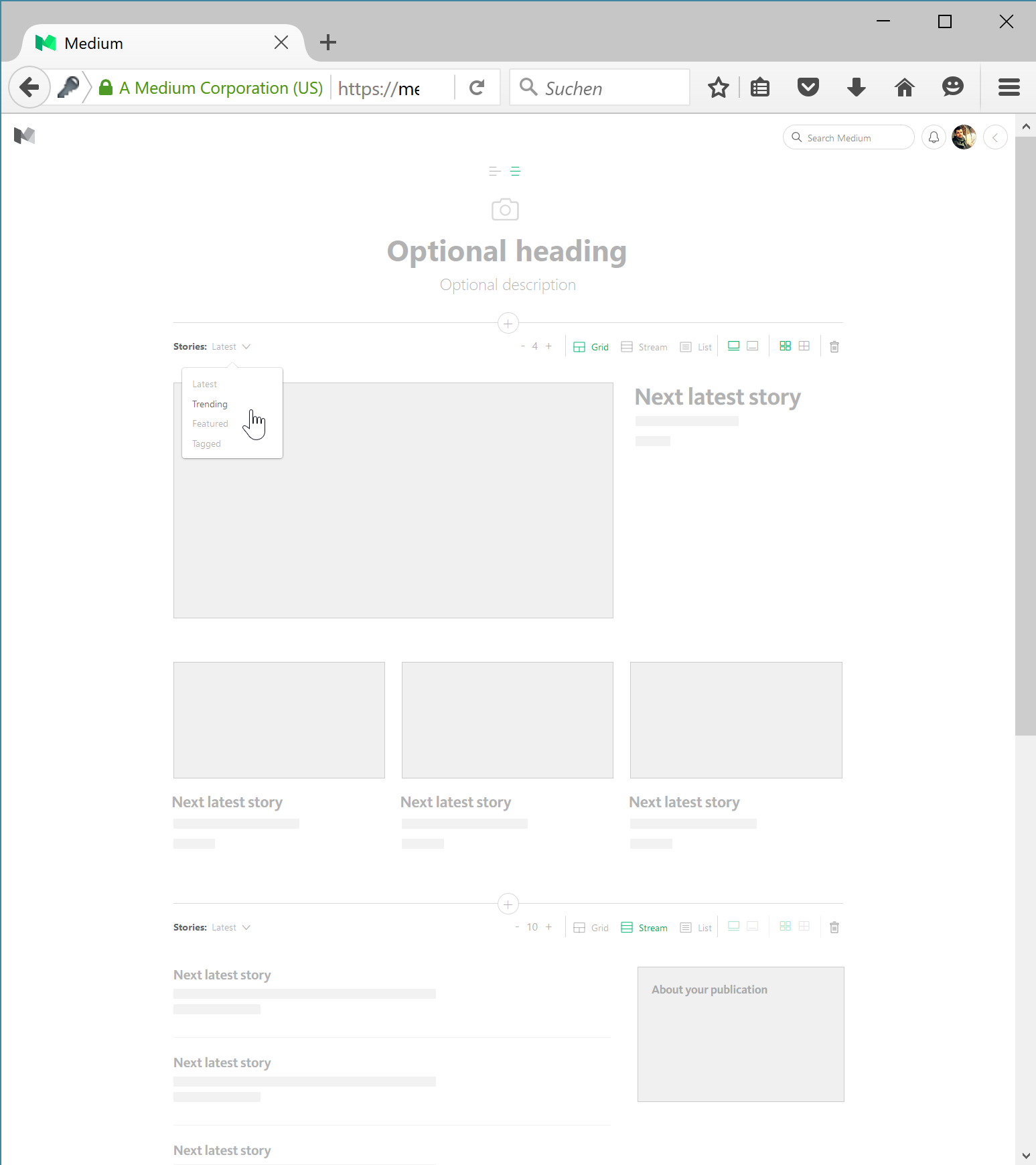 Create Publication Screen on Medium