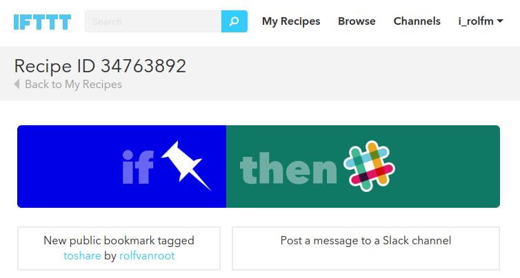 ITFFF Recipe Pinboard to Slack
