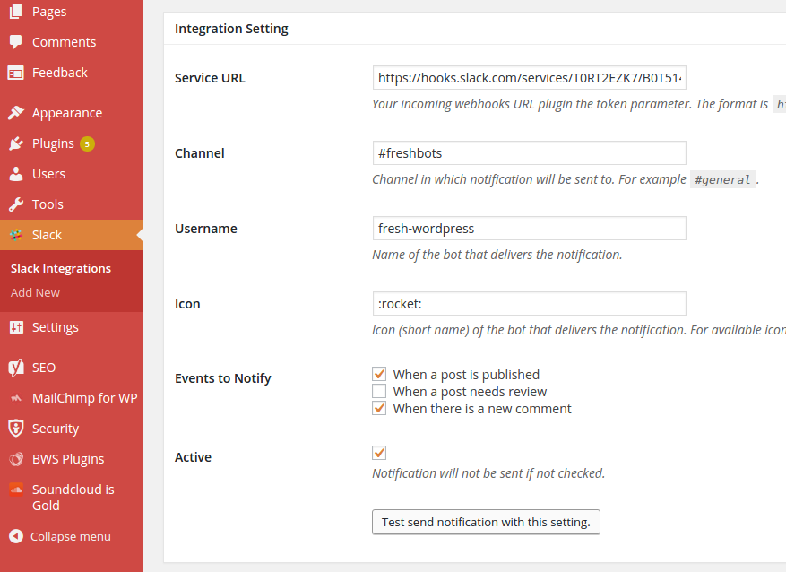 This is the configuration screen for the Slack WordPress plugin.