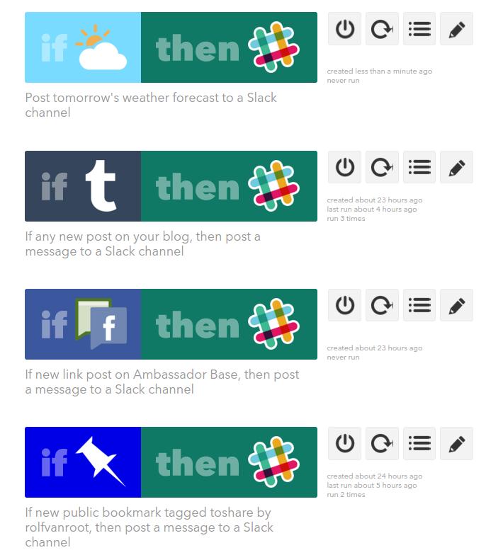 Slack social media integrations via IFTTT