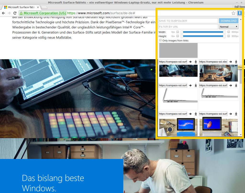 The Image Downloader Chrome Extension in use on Microsoft's Surface Website