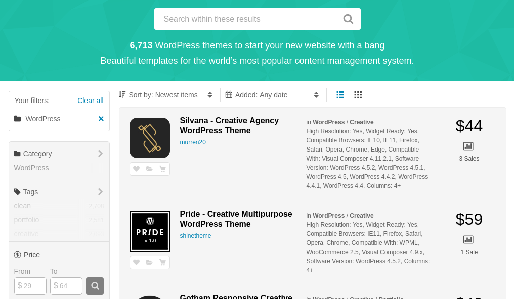 Screenshost from Themeforest - Largest Marketplace for WordPress Themes