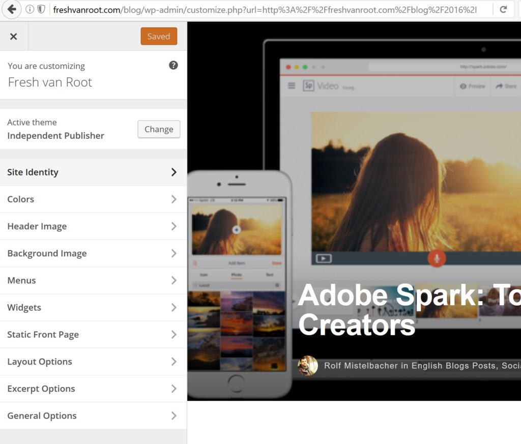 Theme customization view for the Independent Publisher Theme.