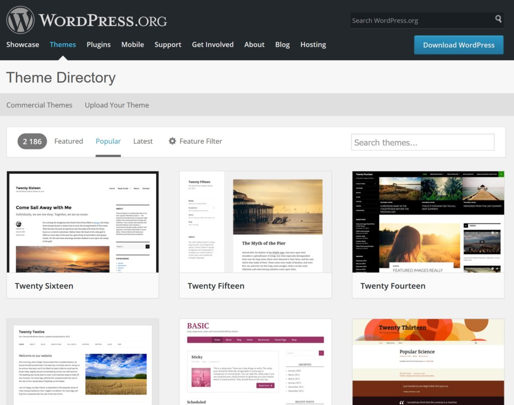 The Theme Directory on WordPress.org lists over 2000 themes.