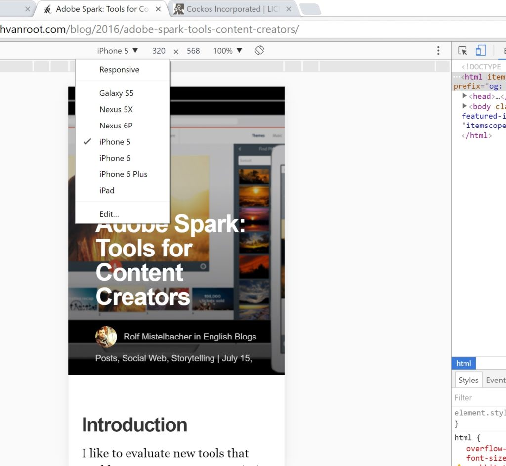 Google's chrome browser allows you to view a website from different device perspectives. Press F12 and then the device toolbar to see how your blog theme looks.