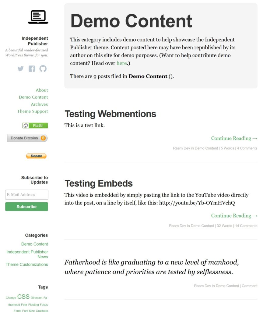 The demo content page from the Independent Publisher Theme (in use on this blog).