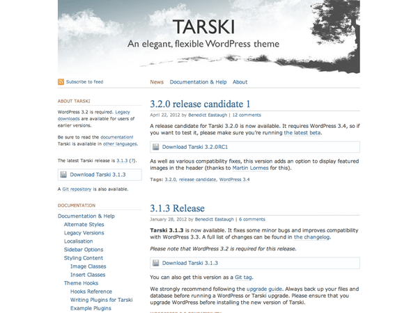Screenshot of the Tarski theme. How blogs looked not so long ago.