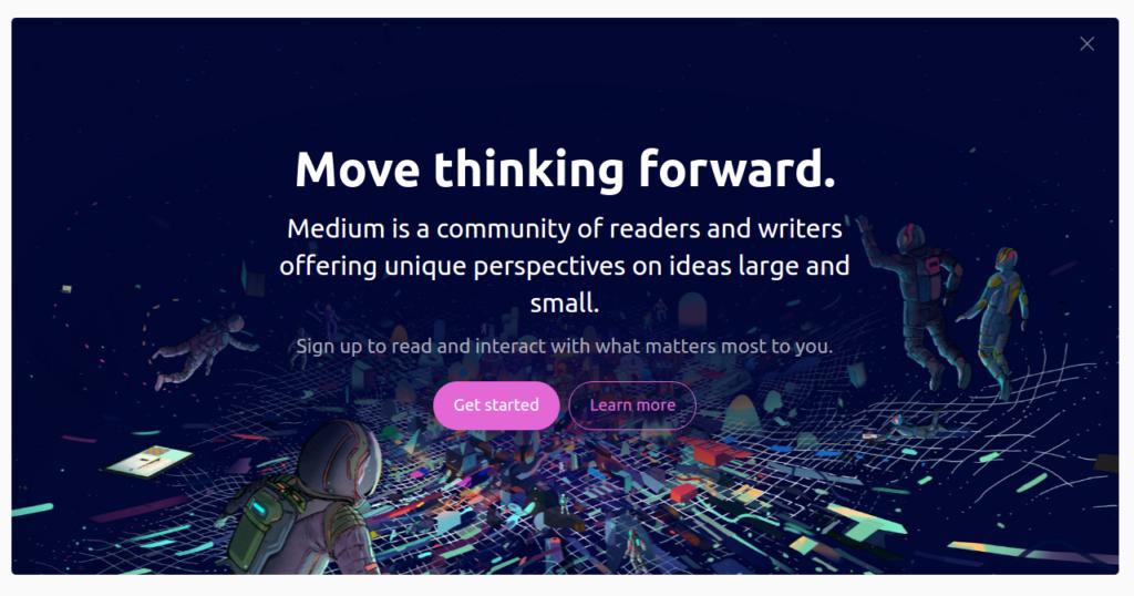 Medium.com Mission Statement on Frontpage