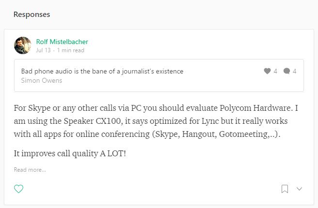 Response on a Medium profile