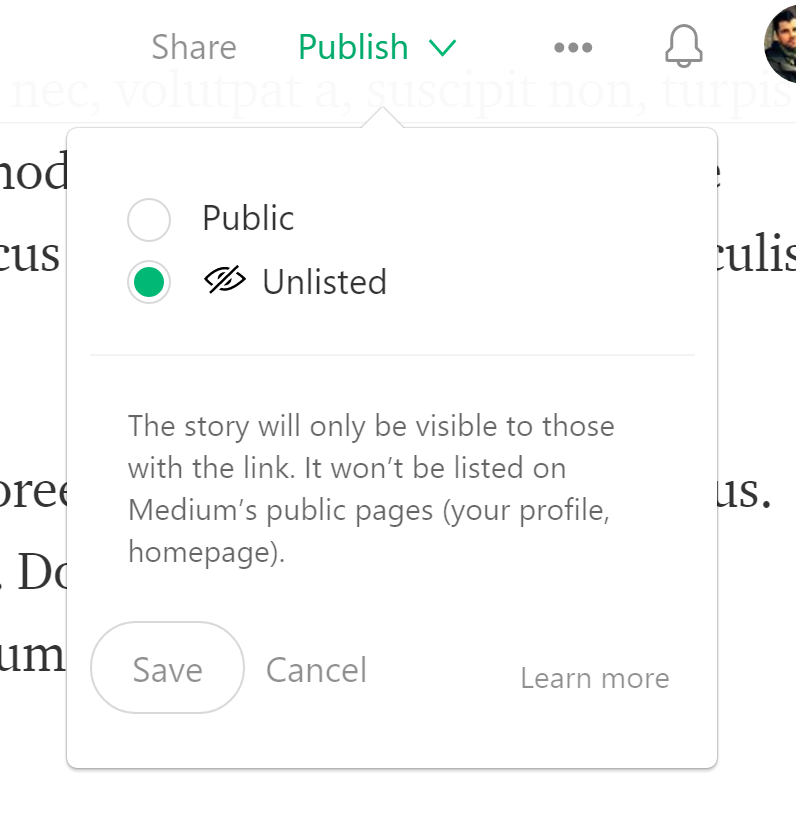 The unlisted story setting on Medium.com