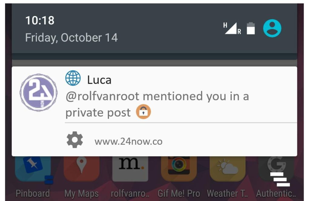 This is a browser notification triggered by 24now running Chrome on Android