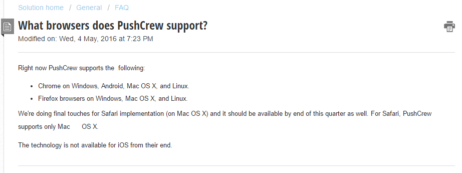 PushCrew on browser support