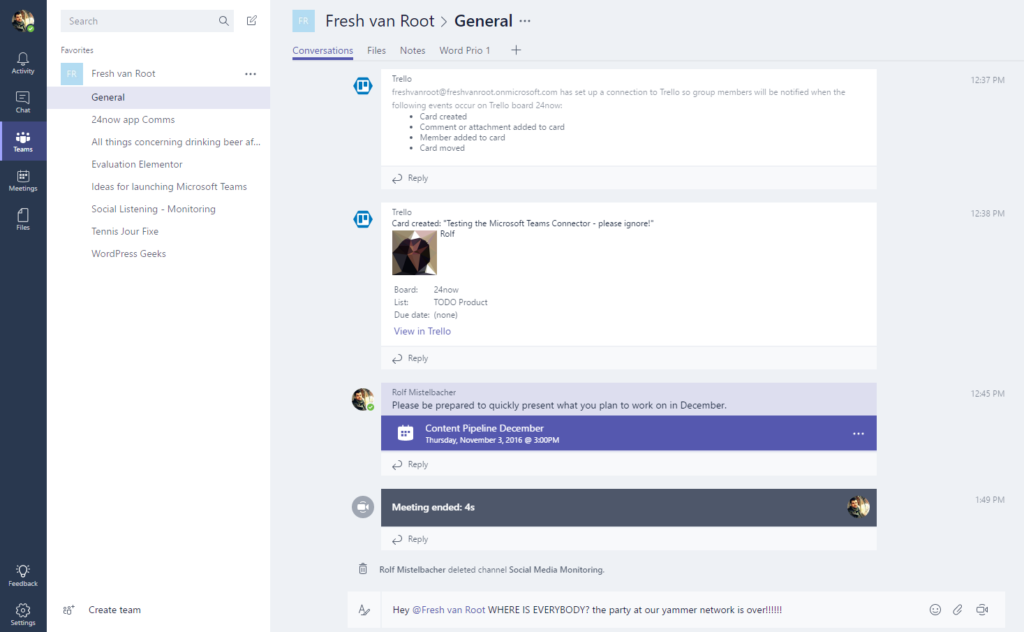 Microsoft Teams channel conversation view