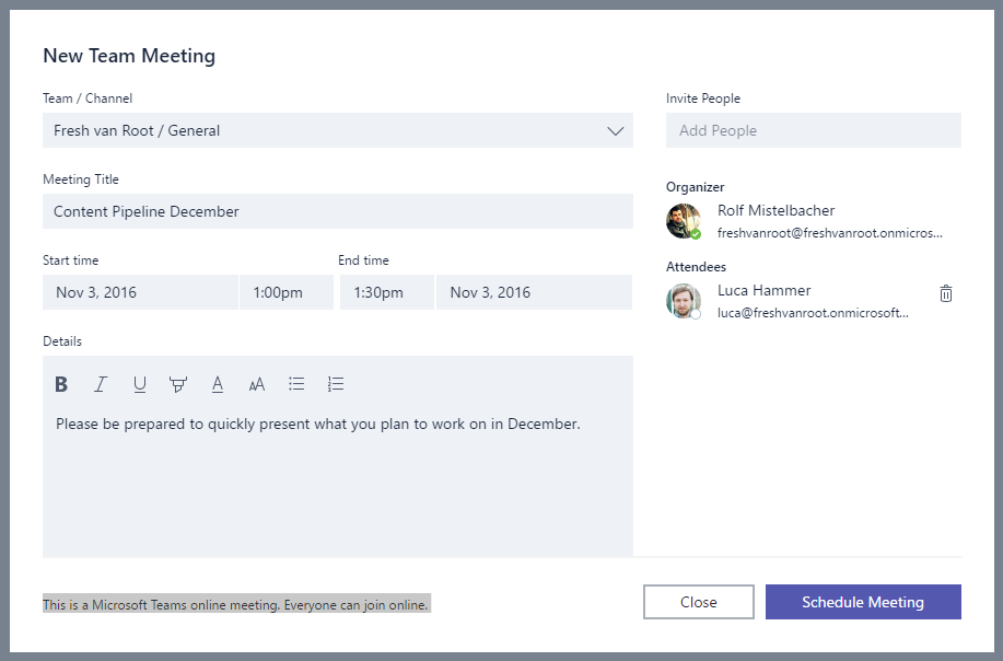 The 'create meeting' screen in Microsoft Teams.