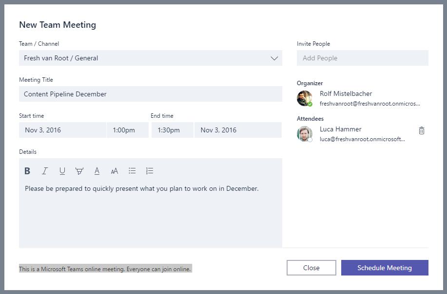 The 'create meeting' screen in Microsoft Teams.