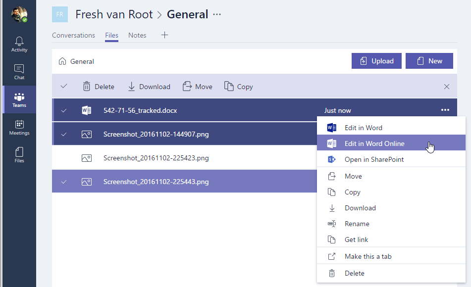 The 'Files' component in Microsoft Teams.
