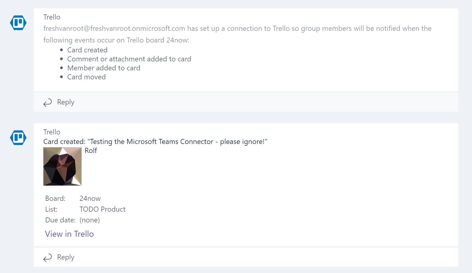 Trello Task in Microsoft Teams.