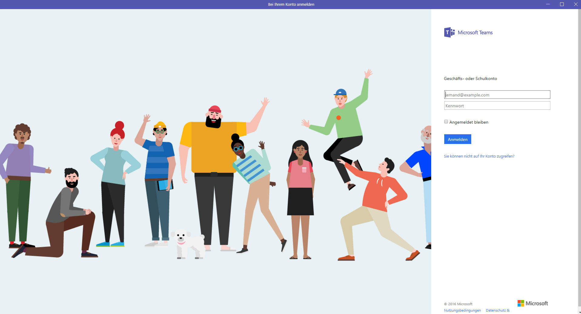 Welcome screen of Microsoft client app Teams: Start-up hippies say, 'Hi'?