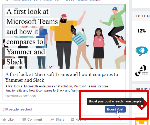 The boost post option is an easy way to quickly push the reach of a page update on Facebook