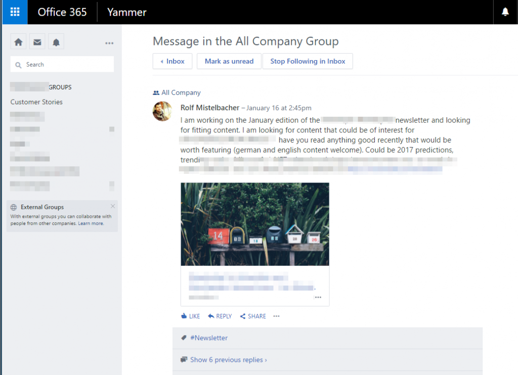 A conversation on Yammer: A post with comment replies