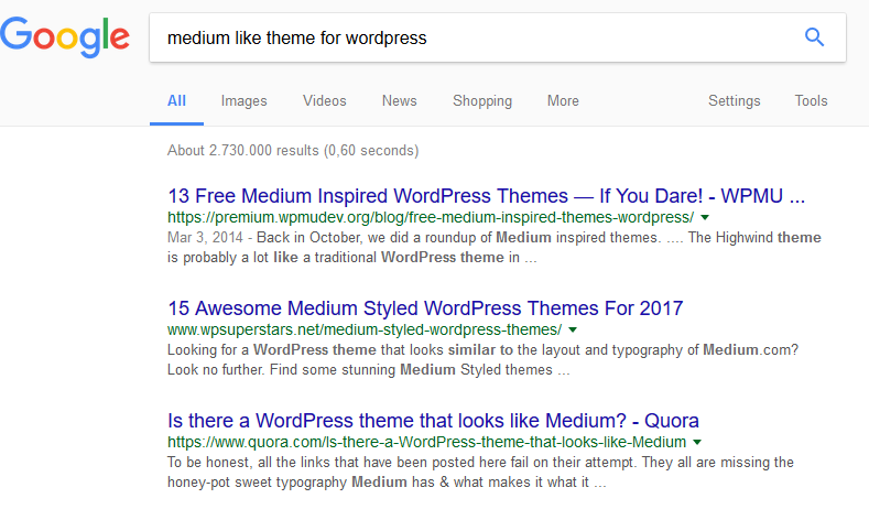 Medium like theme in Google search