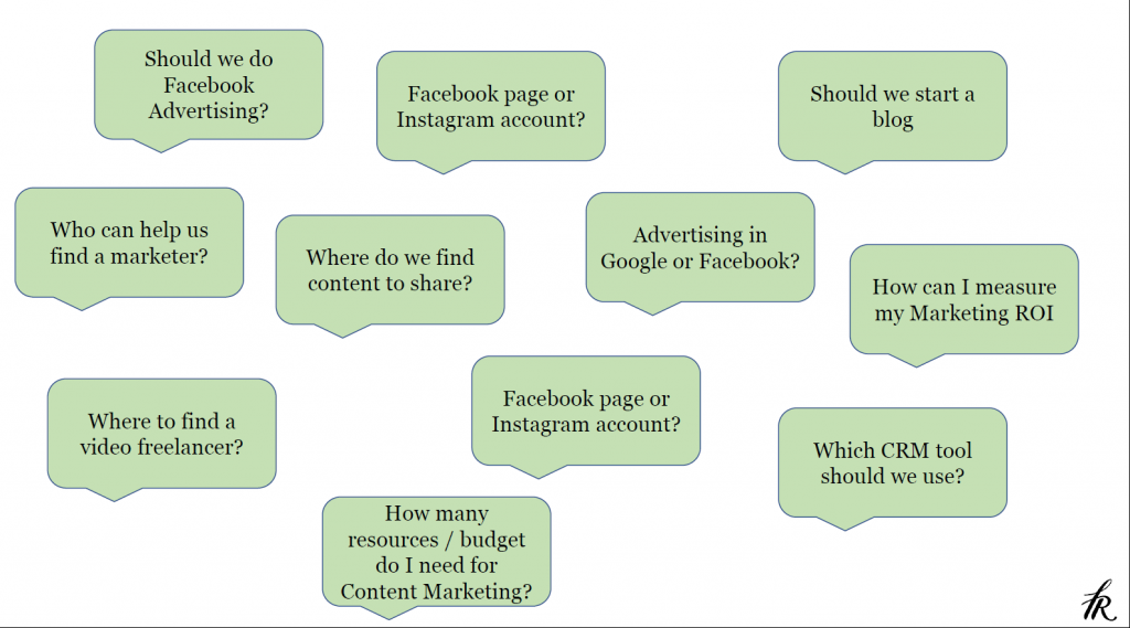 A lot of questions you might have to answer before kicking off your marketing efforts