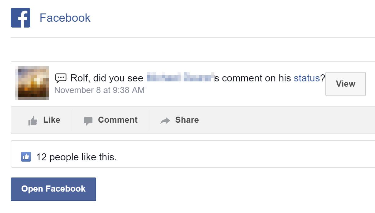 Facebook notificatoin eMail