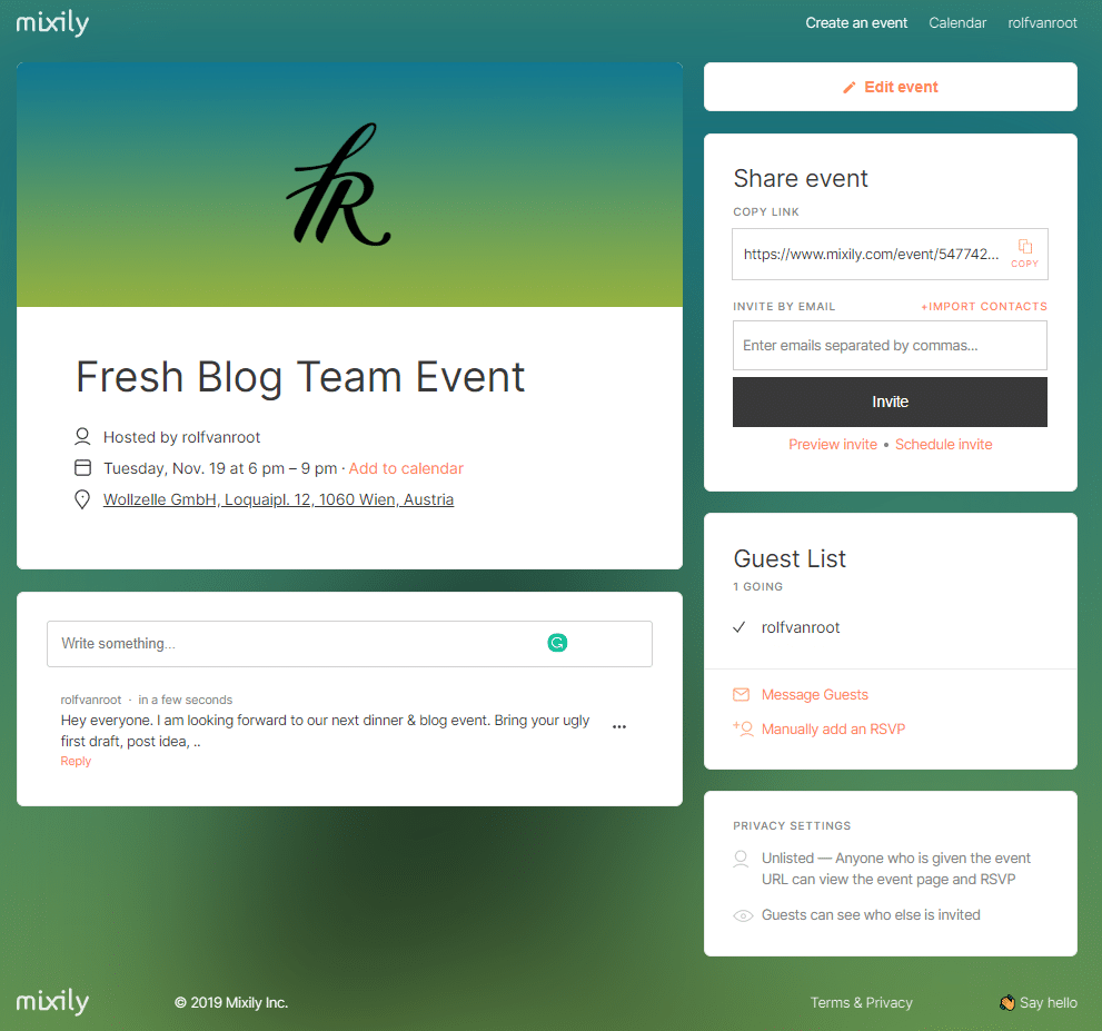 Mixily event web app - event overview page