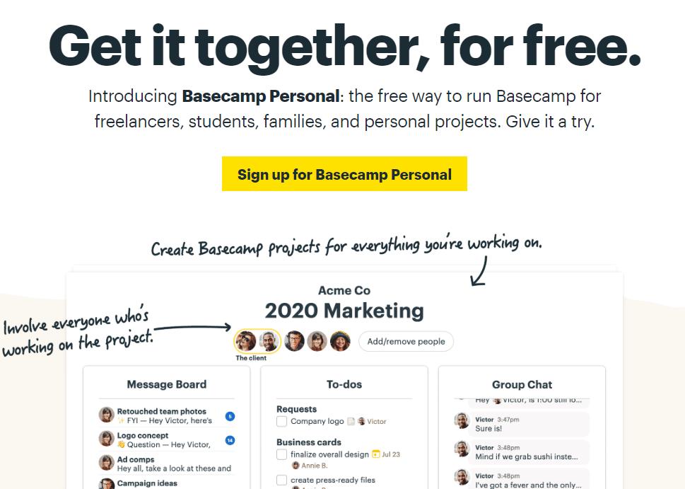 Basecamp Forver Free Plan Screenshot