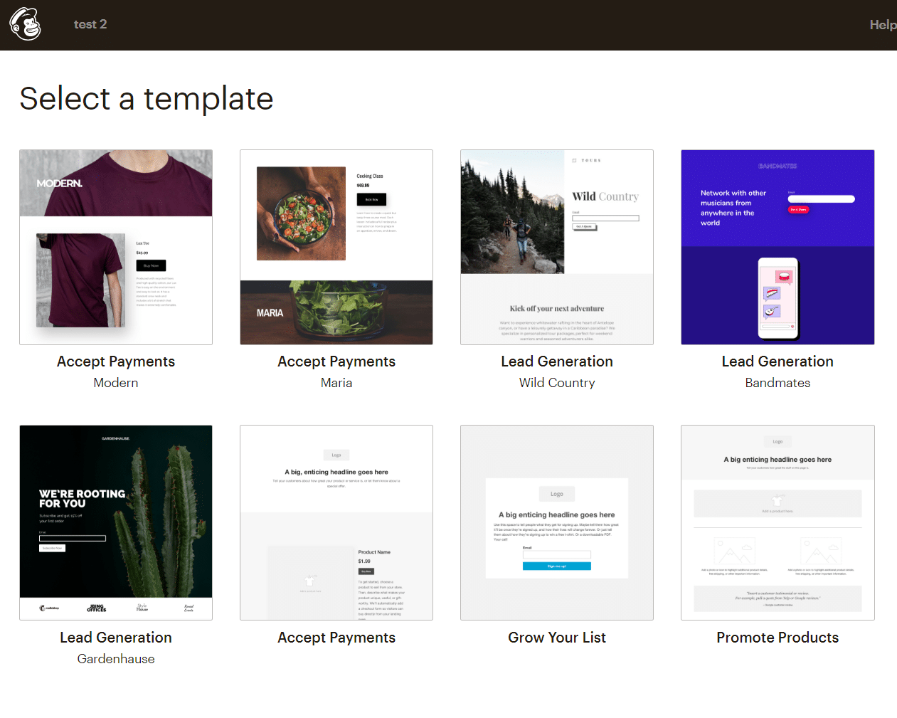 mailchimp landing page templates screenshot