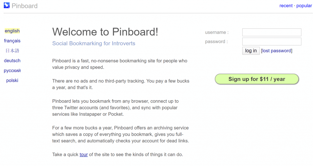 Pinboard bookmarking service - for content curation