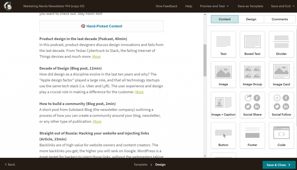 Mailchimp newsletter editing view
