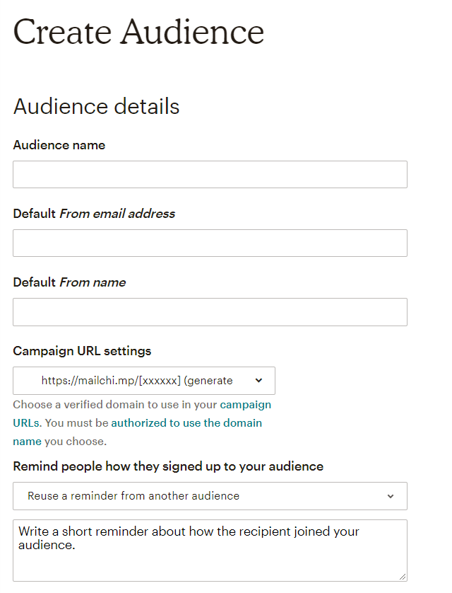 Mailchimp audience settings