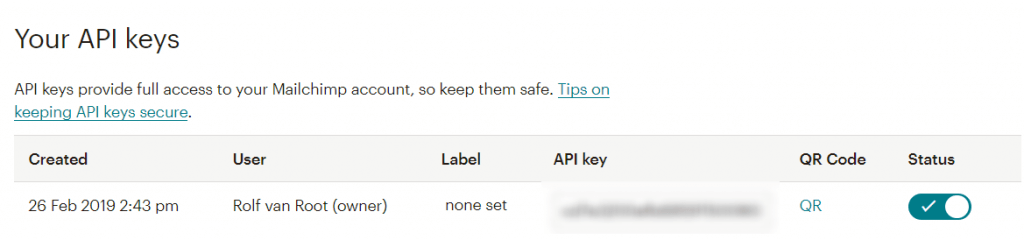 Mailchimp API key settings