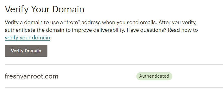 Mailchimp domain verification