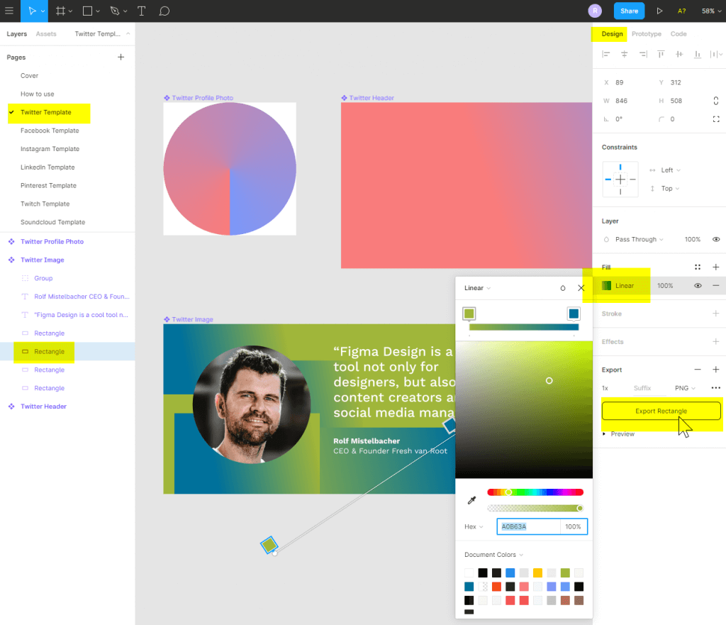 The Figma design tool - editing the social media template
