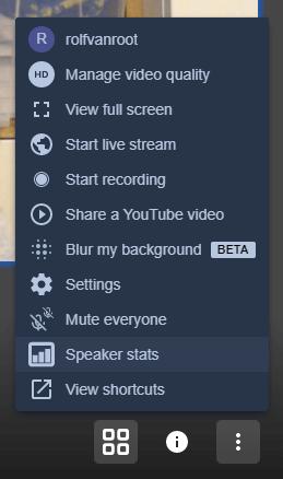 The settings menu in a Jitsi Meet call on desktop browser