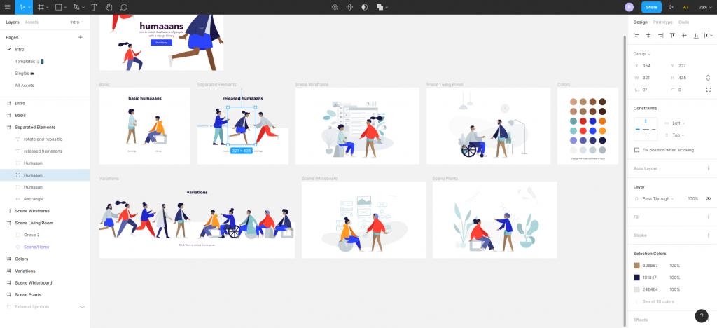 Customisation of Humaans' illustrations in Figma