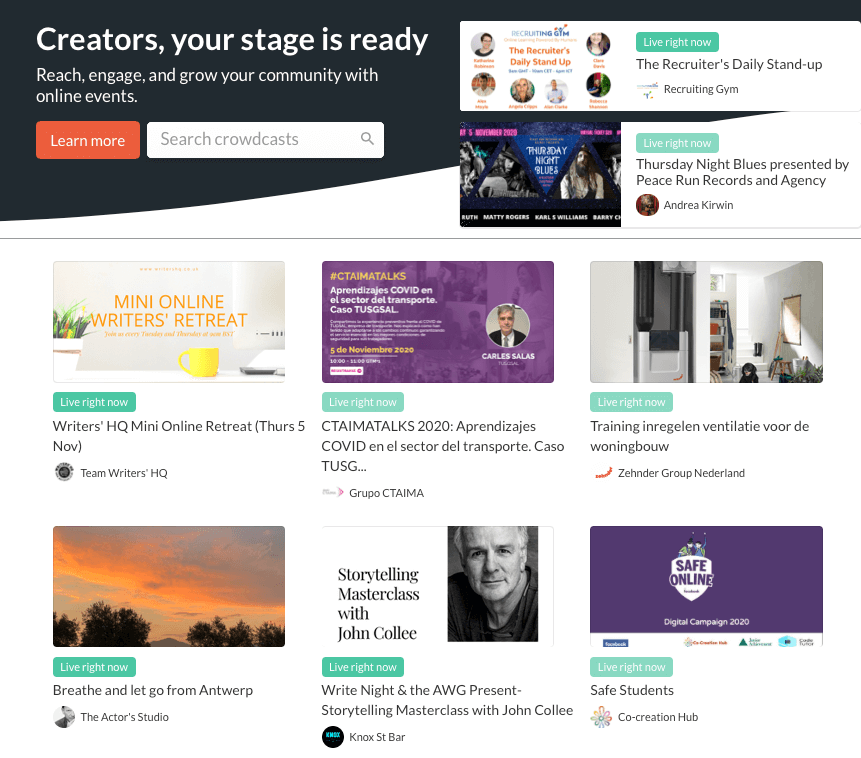 Crowdcast main page